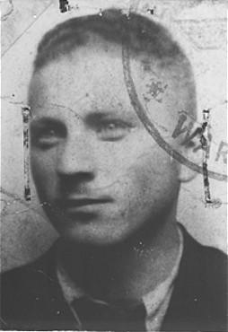 "<p>False identification card photo of Benjamin Miedzyrzecki (<a href=""/narrative/10553"">Benjamin Meed</a>) as a member of the Warsaw ghetto underground. Warsaw, Poland, 1943.</p>"