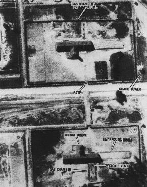 Aerial photograph showing the gas chambers and crematoria 2 and 3 at the Auschwitz-Birkenau (Auschwitz II) killing center Auschwitz, ... [LCID: 04300]