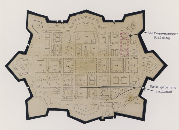 <p>Map of Theresienstadt from an original document (1942-1945) and mounted in an album assembled by a survivor.</p>