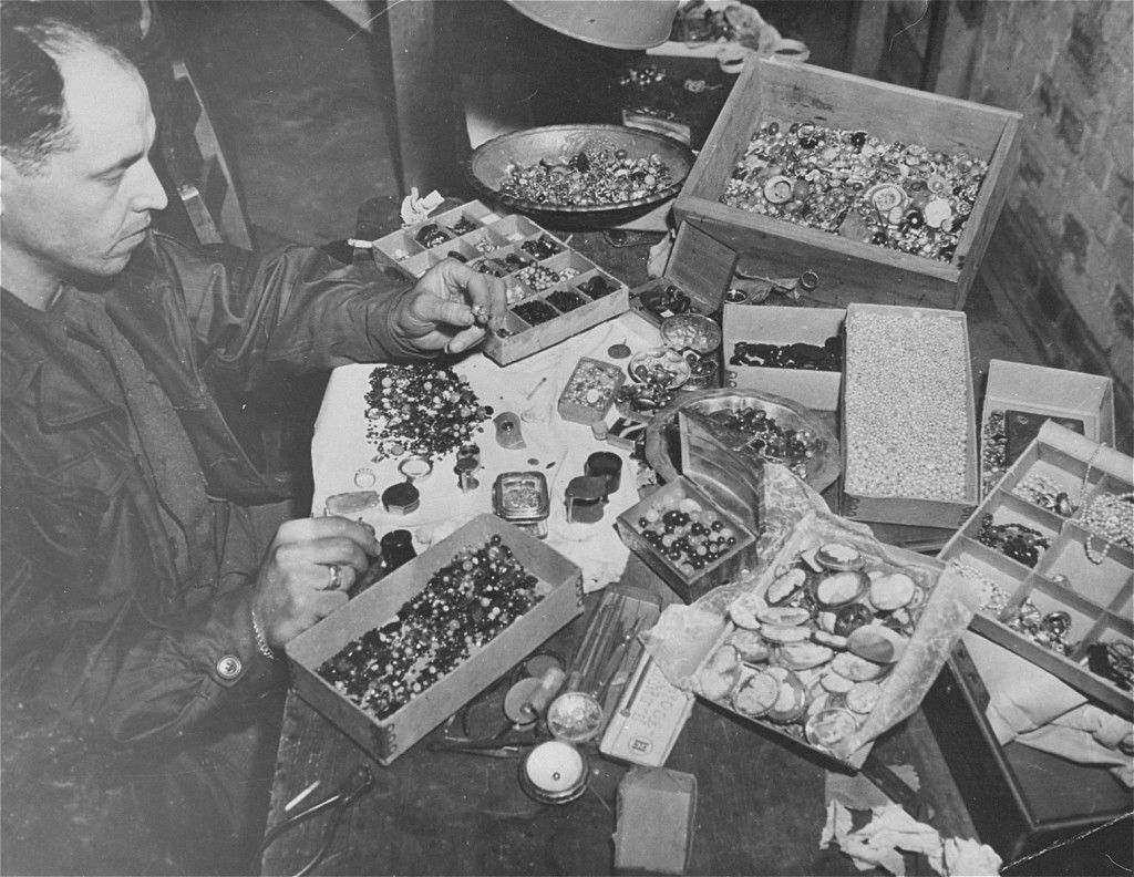The valuables displayed here were confiscated from prisoners by German guards at the Buchenwald concentration camp and later found ... [LCID: 0230]