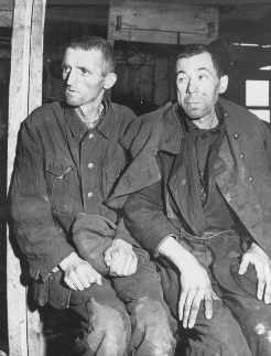 "<p>Two malnourished <a href=""/narrative/10135"">Soviet prisoners of war</a>, survivors of the Hemer prisoner of war camp in western Germany. More than three million Soviet prisoners of war died in German custody, mostly from malnutrition and exposure. Hemer, Germany, April 29, 1945.</p>"
