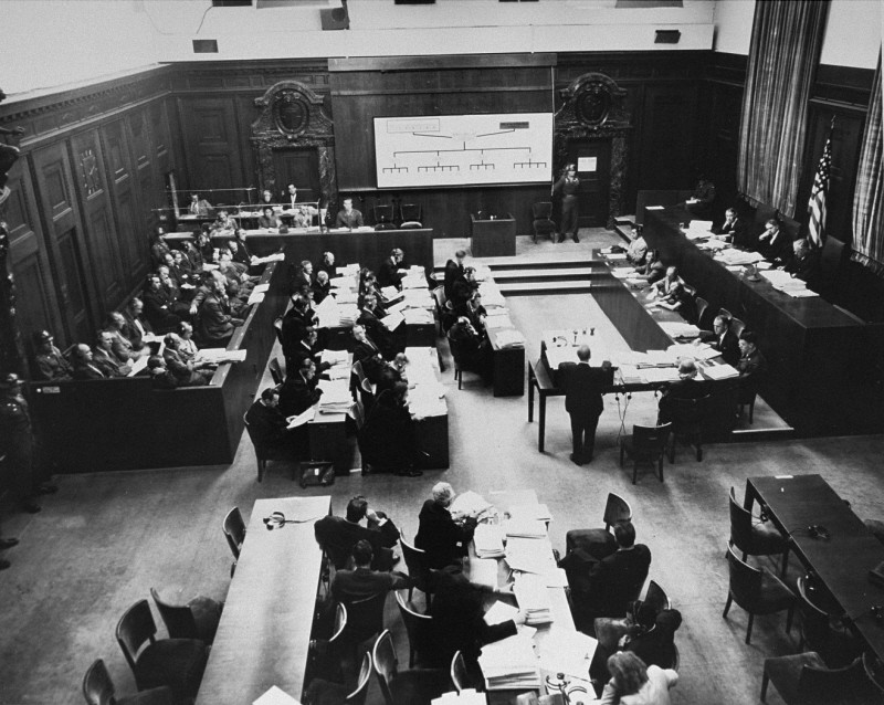 "<p>The courtroom during the <a href=""/narrative/9545"">Einsatzgruppen Trial</a> of the Subsequent Nuremberg Proceedings. Chief Prosecutor Benjamin Ferencz stands in the center of the room. He is presenting evidence. Nuremberg, Germany, between September 29, 1947, and April 10, 1948. </p>"