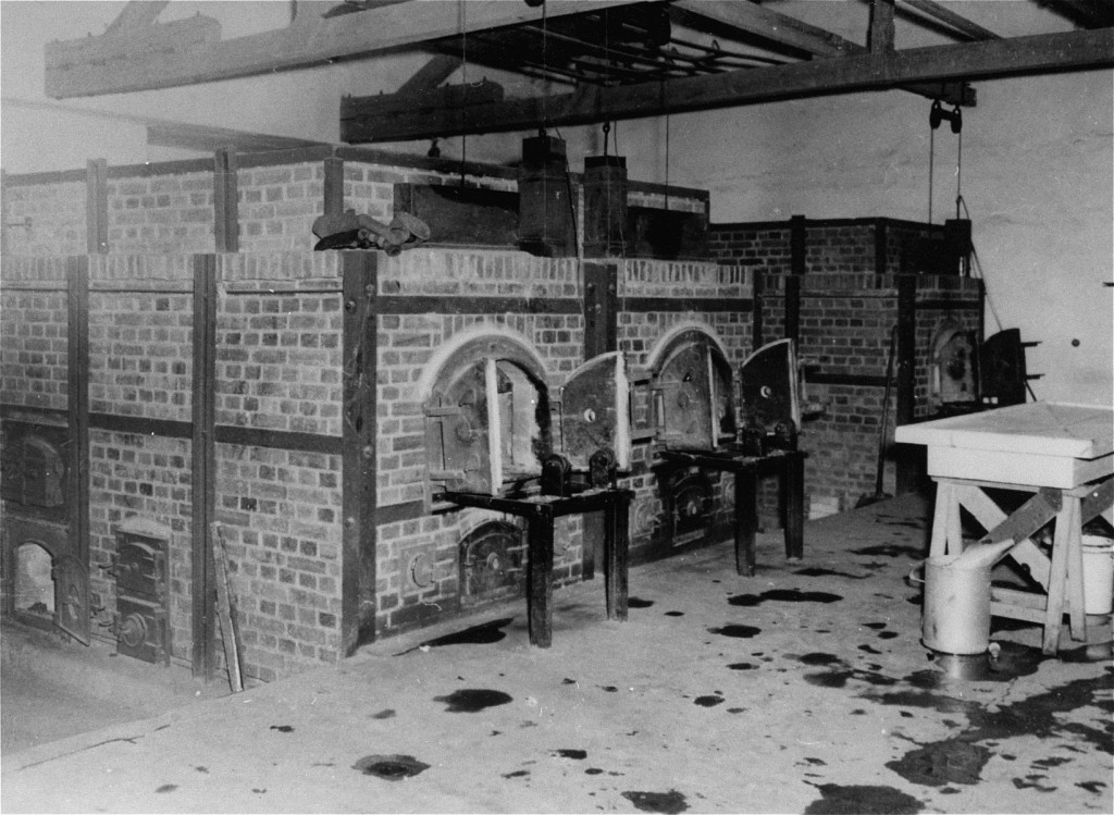 The crematoria at Dachau concentration camp, soon after the liberation of the camp. [LCID: 85670]