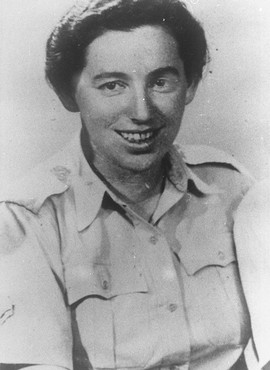 "<p>Haviva Reik, a <a href=""/narrative/5666"">parachutist from Palestine</a>, before her mission to aid Jews in Slovakia. She was caught and executed by the Nazis. Palestine, probably before September 1944.</p>"