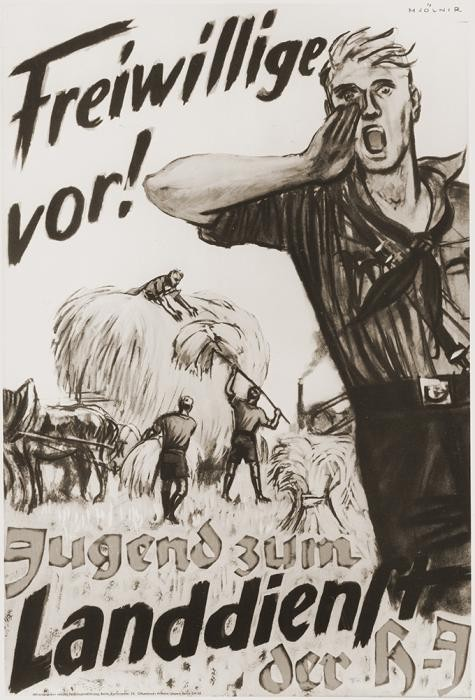 "<p>Poster urging young Germans to join the <a href=""/narrative/52091"">Hitler Youth</a> <em>Landdienst</em> [agricultural service]. It reads ""Volunteers to the front! Youth to the land service of the Hitler Youth."" </p>"