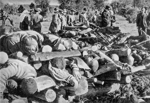 "<p>Corpses of inmates from the Klooga camp stacked for burning. Soviet troops discovered the bodies when they liberated the camp. <a href=""/narrative/5858"">Estonia</a>, September 1944.</p>"