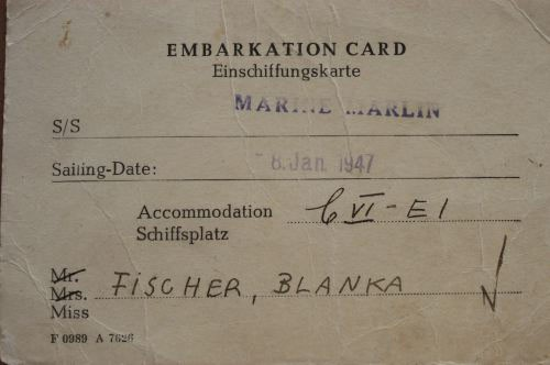 Blanka's embarkation card for the SS Marine Marlin, with a sailing date in 1947. [LCID: roth3]