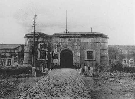 "<p>Entrance to the <a href=""/narrative/5377"">Breendonk</a> internment camp. Breendonk, Belgium, 1940-1944.</p>"