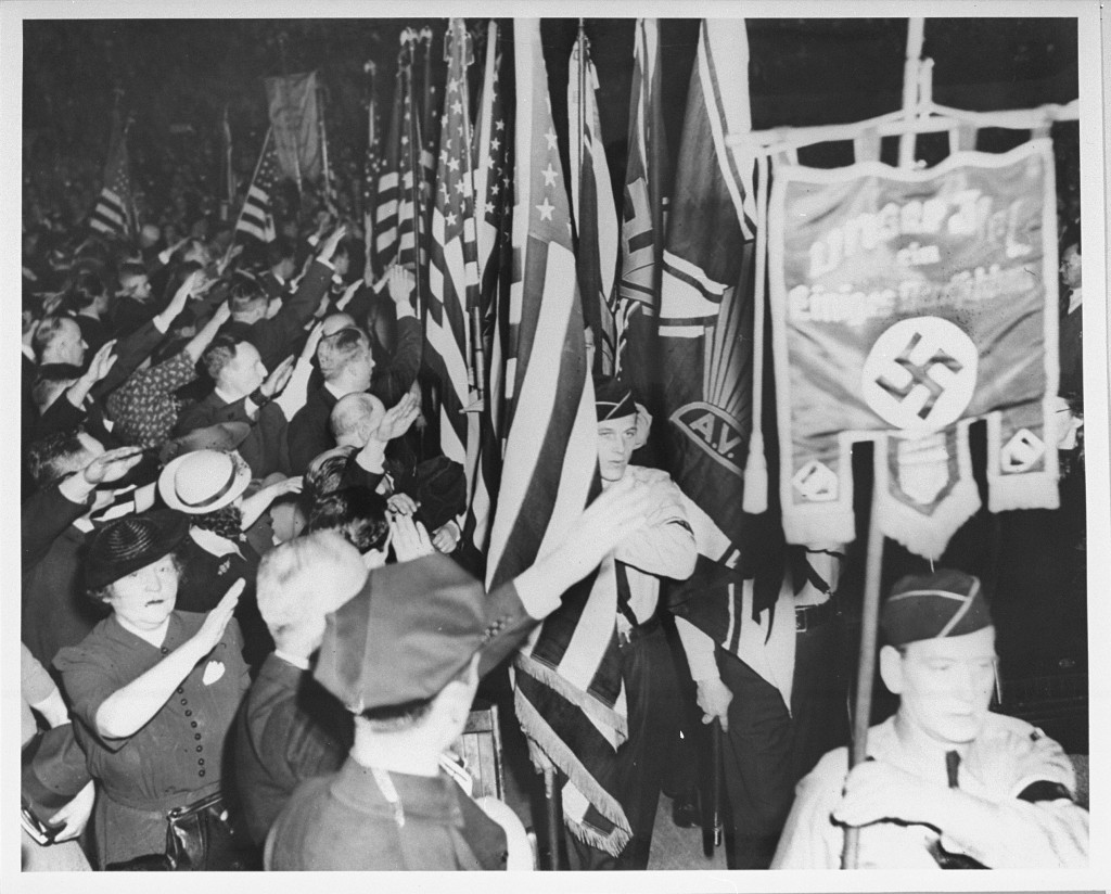 <p>Pro-Nazi German American Bund rally at Madison Square Garden. New York City, New York, United States, February 20, 1939.</p>