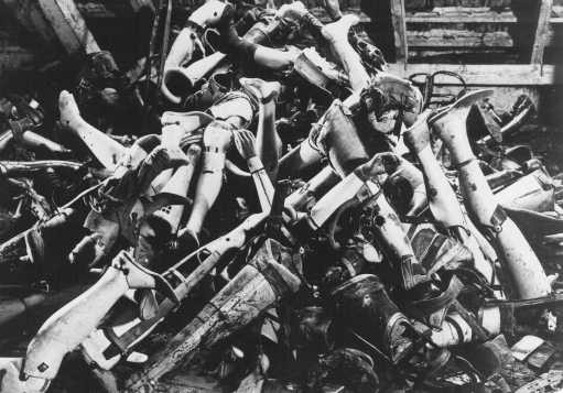 <p>Artificial limbs of prisoners killed in the gas chambers were found after liberation. Auschwitz-Birkenau camp, Poland, October 14, 1945.</p>