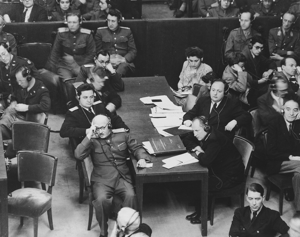 "<p>The Soviet prosecution team at the <a href=""/narrative/9366/en"">International Military Tribunal</a>. Each of the four Allied countries—the United States, Great Britain, France, and the Soviet Union—was represented by a judge and a team of prosecuting attorneys.</p>"