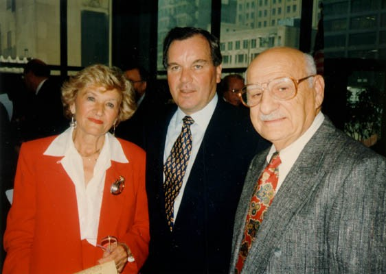 "<p><a href=""/narrative/10366"">Lisa and Aron</a> with Chicago Mayor Richard Daley on Holocaust Remembrance Day. Chicago, Illinois, 1994 or 1995.</p>"