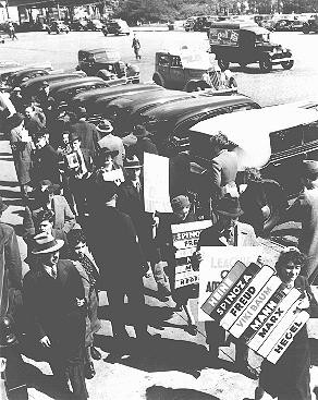 In front of the German consulate building, writers demonstrate against Nazi book burning. [LCID: 74269]