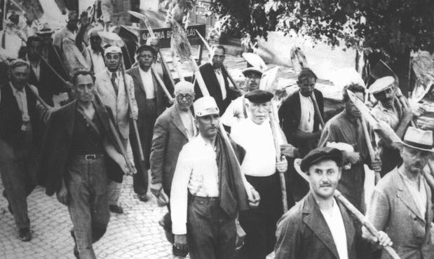 Jews drafted into the Hungarian Labor Service System march to a work site. [LCID: 65692]