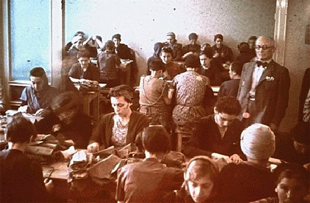 "<p>Jewish women at forced labor in a sewing workshop in the <a href=""/narrative/2152/en"">Lodz</a> ghetto. Lodz, Poland, between 1940 and 1944.</p>"