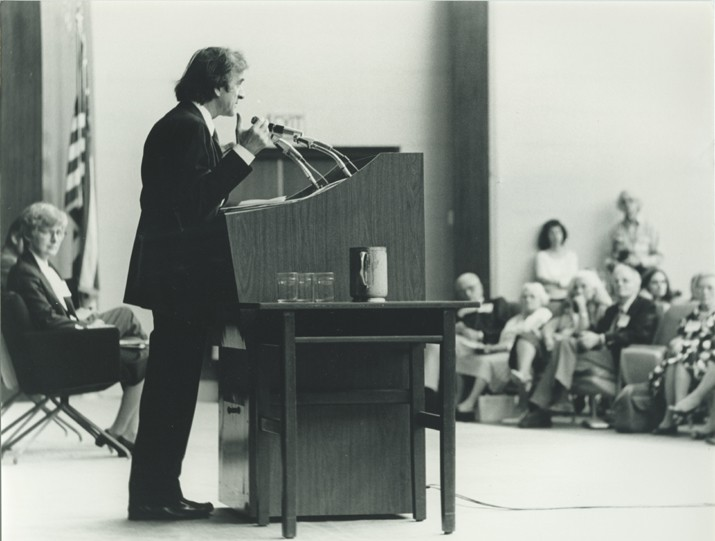 Elie Wiesel speaks at the Faith in Humankind conference, held before the opening of the USHMM, on September 18–19, 1984, in Washington, ... [LCID: n05891]