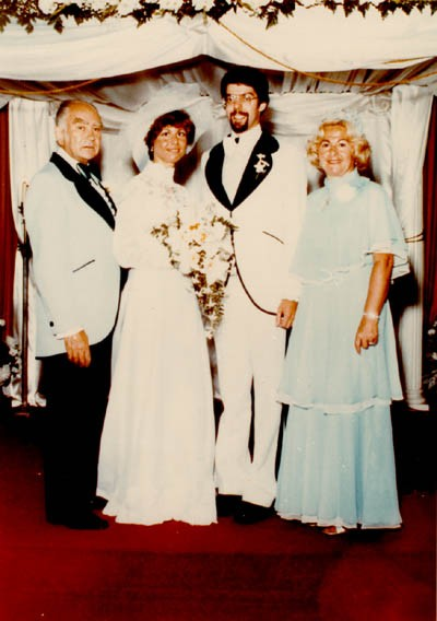 Photograph taken at the marriage of Esther Salsitz and her fiance.