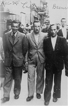 "<p>Three participants in the Treblinka uprising who escaped and survived the war. Photograph taken in Warsaw, Poland, 1945.</p> <p class=""document-desc moreless"">Pictured from left to right are: Abraham Kolski, Lachman and Brenner. After participating in the Treblinka uprising, they escaped from the camp and found temporary refuge in the nearby forest. Afterwards they hid with a Christian family until liberation.</p> <div class=""datapair""> </div>"