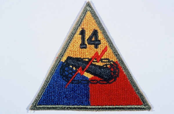 """Insignia of the 14th Armored Division. Although lacking a nickname during the war, the 14th became known as the """"Liberators"""" soon ... [LCID: n05632]"""