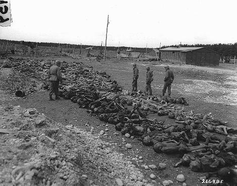 "<p>US troops view bodies of victims of <a href=""/narrative/8071"">Kaufering</a> IV, a Dachau subcamp in the Landsberg-Kaufering area. Germany, April 30, 1945.</p>"