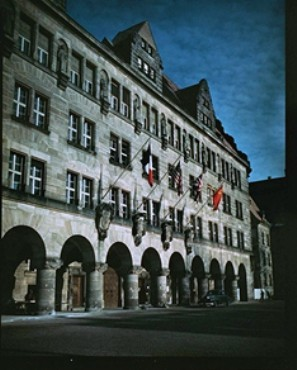 <p>The Palace of Justice in Nuremberg, Germany, where the International Military Tribunal trial of war criminals was held. The flags of the four prosecuting countries (French, American, British, and Soviet) hang above the entrance.</p>