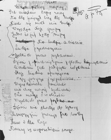 "<p>A page from the diary of Eugenia Hochberg, written while she was living in <a href=""/narrative/7711"">hiding</a> in Brody, Poland. The page contains a timeline of important events that happened during the war, such as deaths and deportations of family and friends. Brody, Poland, July 1943–March 1944.</p>"