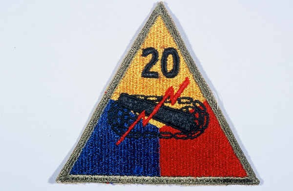 """Insignia of the 20th Armored Division. Although no nickname is commonly associated with the 20th,  """"Armoraiders"""" may have been occasionally ... [LCID: n05633]"""
