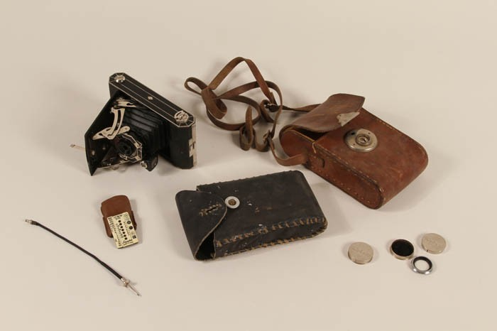 This camera equipment belonged to Walter Hunkler, a sergeant assigned to a medical detachment of the 160th Field Artillery Battalion, ... [LCID: 2522459]