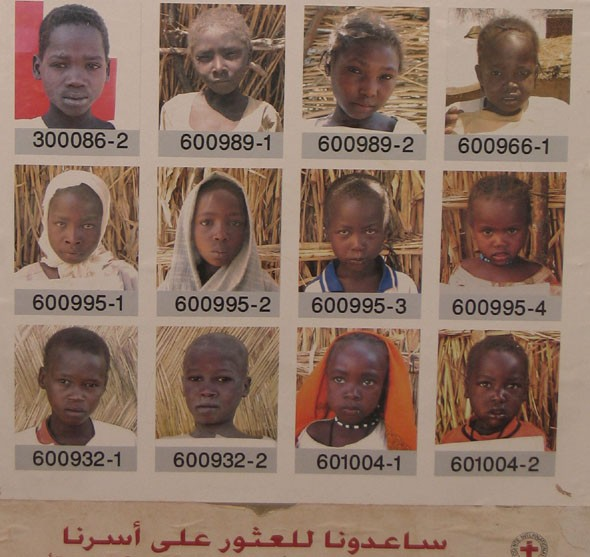 "<p>International Red Cross Poster showing photographs of children in a refugee camp in Chad. Titled ""Help us find our family."" Chad, 2005.</p>"