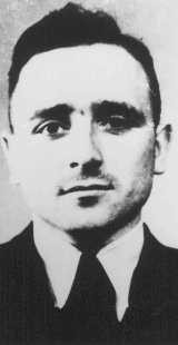 "<p>Official SS portrait of SS Lieutenant Klaus Barbie, known as the ""Butcher of Lyon."" Barbie was responsible for atrocities in France against Jews and resistance activists. Germany, date uncertain.</p>"