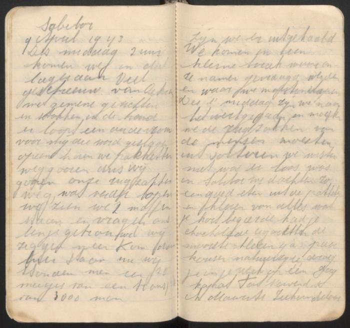 Selma Engel diary entry about arriving in Sobibor in April of 1943