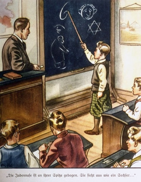 "<p>زہریلے مشروم کا صفحہ۔ اس تصویر میں جولیس اسٹرائخر کے دیئر شٹرمر – ورلیگ کے ذریعہ شائع کردہ بچوں کیلئے متعدد یہود مخالف کتابوں سے ایک صفحہ دکھایا گیا ہے۔ اس کی عبارت ہے، ""یہودیوں کی ناک اپنے سرے پر مڑی ہوتی ہے۔ یہ 6 نمبر کی طرح لگتا ہے۔""</p>"