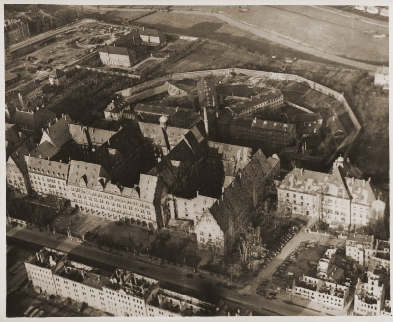 "<p>Aerial view of the Nuremberg Palace of Justice, where the <a href=""/narrative/9366/en"">International Military Tribunal</a> tried 22 leading German officials for war crimes. Nuremberg, Germany, November 1945.</p>"