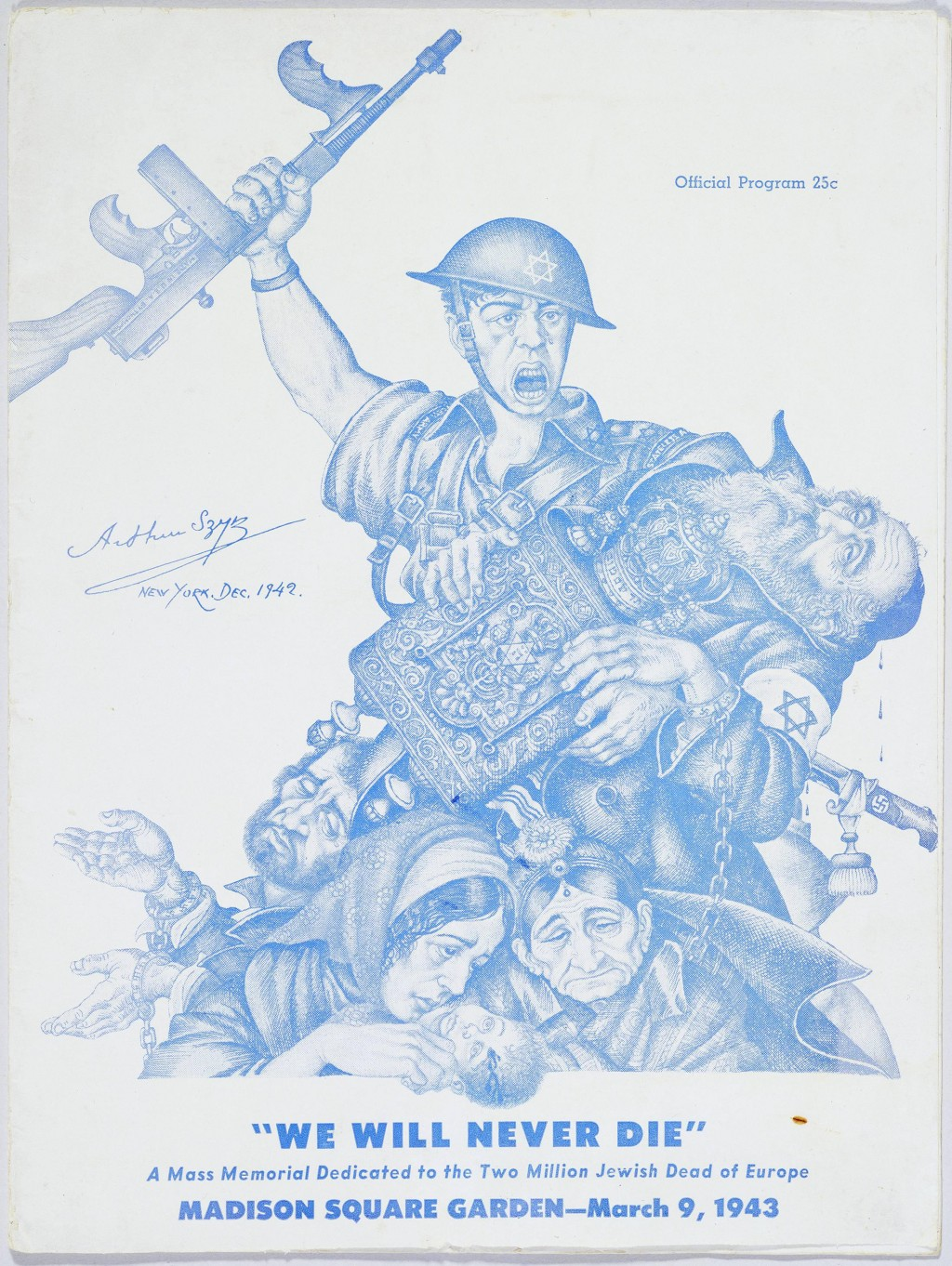 "<p>The program cover for ""<a href=""/narrative/9262/en"">We Will Never Die</a>"" featured <a href=""/narrative/7579/en"">Arthur Szyk</a>'s ""Tears of Rage"" artwork. The cover's original dimensions are: 12 1/16"" x 9 1/16"" x 3/16.</p>"