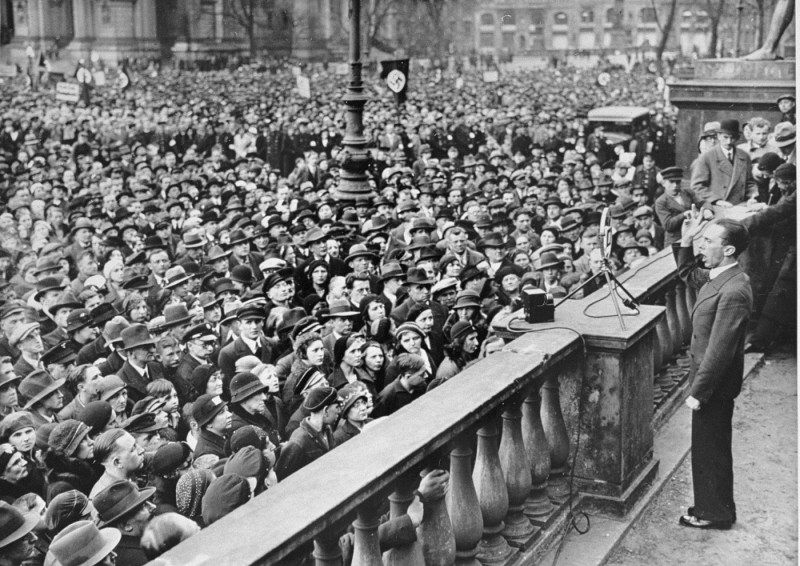 Joseph Goebbels, the Nazi minister of propaganda, speaks at a rally in favor of the boycott of Jewish-owned shops. [LCID: 44203]