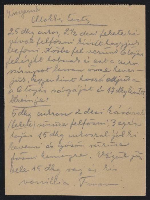 "Mrs. Zinger's recipe for ""mocha cake,"" transcribed by Ilona Kellner on the back of a blank munitions factory form"