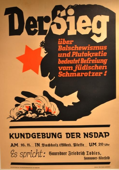 Poster for Nazi Party speech on Jewish Bolshevik threat
