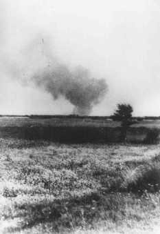 Distant view of smoke from the Treblinka killing center, set on fire by prisoners during a revolt. [LCID: 35277]
