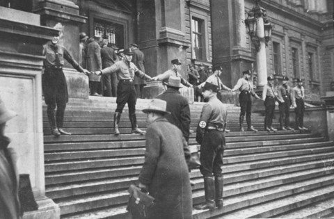 <p>Nazis block Jews from entering the University of Vienna. Austria, 1938.</p>