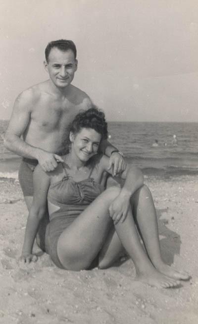 Lisa and Aron at Lake Michigan, ca. 1947-1949.