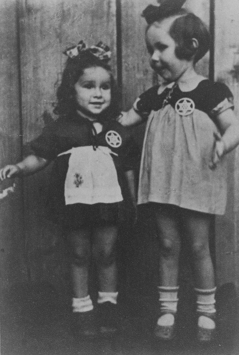 Two young cousins shortly before they were smuggled out of the Kovno ghetto. [LCID: 10945]