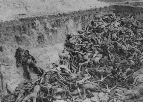 A mass grave soon after camp liberation. Bergen-Belsen, Germany, May 1945. [LCID: 32072]