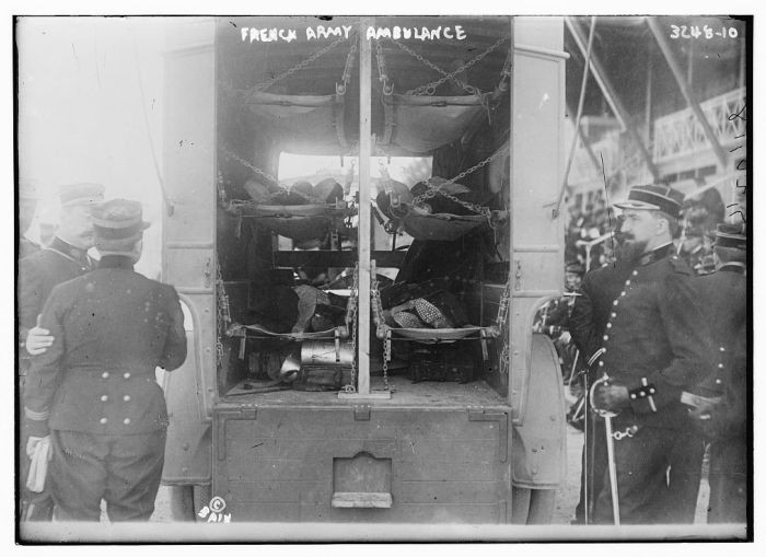 <p>A French army ambulance during World War I. This photograph was taken ca. 1914–1915.</p>