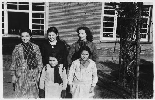 "<p>A group of Jewish girls hiding, under <a href=""/narrative/7711"">assumed identities</a>, in a convent. Ruiselede, Belgium, 1943-44.</p>"