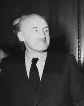 "<p>Defendant <a href=""/narrative/9925"">Julius Streicher</a>, editor of the racist newspaper <em>Der Stuermer</em>. Streicher was one of the MT brought 24 leading German officials charged by the International Military Tribunal at Nuremberg.</p>"