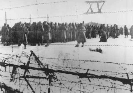 "<p>Photograph from a series taken by a guard in the Soviet prisoner-of-war camp of Belzen bei Bergen, and numbered in Roman numerals by the American officer, Lt. van Otten. The camp held approximately 10,000 POWs, most of whom came from Fallingbostel, 10 km away. When they fell ill, they were marched to <a href=""/narrative/4549"">Belsen</a>. At Belsen, they were starved, often given only a soup made of field beets. This photo shows Soviet POWs assembled at the camp. Germany, 1941–45.</p>