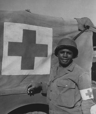 "<p>African American soldier Warren Capers was recommended for a Silver Star for his actions during the <a href=""/narrative/2899"">Allied invasion of France</a>. He and his medical detachment aided more than 330 soldiers. France, August 18, 1944.</p>"
