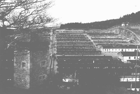 <p>View of the Flossenbürg concentration camp after the liberation of the camp by US forces. Flossenbürg, Germany, 1945.</p>