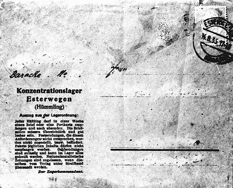 <p>Una postal oficial para el uso de prisioneros del campo de concentración de Esterwegen. El texto al lado izquierdo da instrucciones y restricciones a los prisioneros sobre lo que puede ser enviado y recibido. Alemania, el 14 de agosto de 1935.</p>