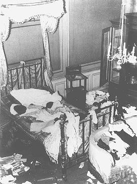 "A private Jewish home vandalized during Kristallnacht (the ""Night of Broken Glass"" pogrom). [LCID: 4303]"